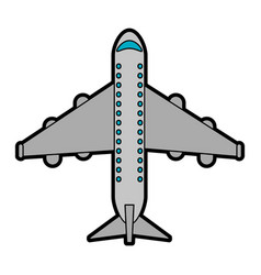 Commercial airplane topview icon image vector