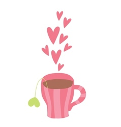 Cute cartoon cup of coffee with hearts vector