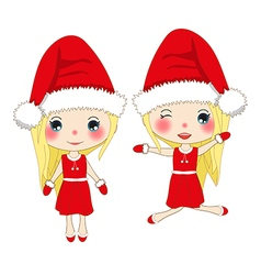 Cute Girl in Red Dress Christmas Day vector