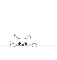 cute peeking kitten isolated on white vector image