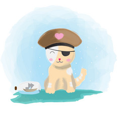 Cute pirate cat with boat vector