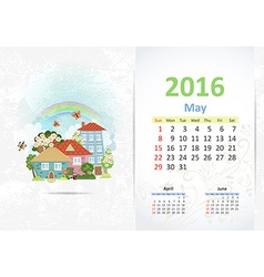 Cute sweet town calendar for 2016 May vector image
