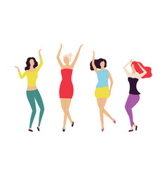 dancing women smiling and moving with music vector image