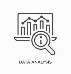 data analysis flat line icon outline vector image