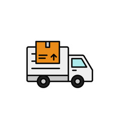 Delivery truck with package icon shipment item vector