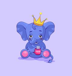 Elephant calf embarrassed sticker emoticon vector
