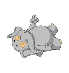 elephant fell tired dropped dead vector image