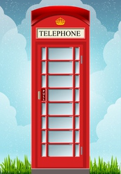 English Red Telephone Cabin vector