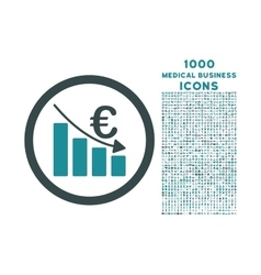 Euro Recession Rounded Icon with 1000 Bonus Icons vector image