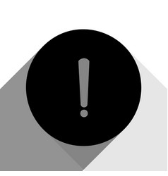 exclamation mark sign black icon with two vector image