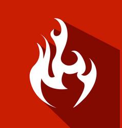 fire flat white symbol vector image