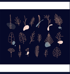 floral flat leaves set dark vector image