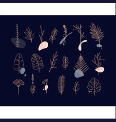 floral flat leaves set dark vector image