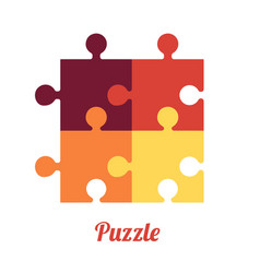 four folded puzzles smart logo and symbol of vector image