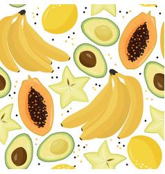 Fresh fruits summer background bright seamless vector