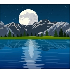 Full moon and group of trees reflected vector
