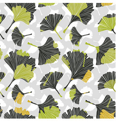 ginkgo biloba leaf tablecloth seamless pattern vector image