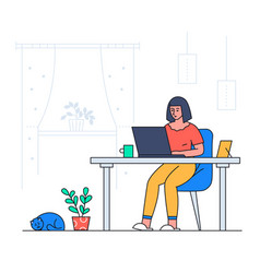 girl working from home - colorful flat design vector image