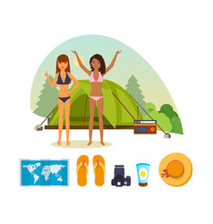 Girls have fun in nature with set of things vector