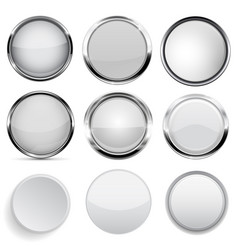 Glass and plastic buttons collection white round vector