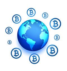 Global bitcoin network presence concept vector