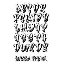 graffiti 3d alphabet- hand written - font vector image