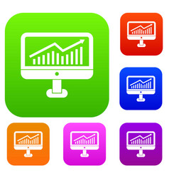 growth graph on the computer monitor set vector image
