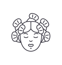 hairdressers services line icon concept vector image