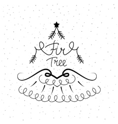 Hand drawn icon with a fir tree vector image