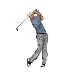hand drawn sketch of golfer in color isolated vector image