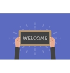 Hand holding sign welcome vector image