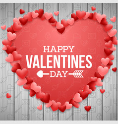 happy valentines day background bright red heart vector image