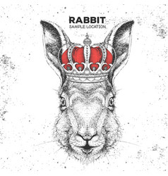 Hipster animal rabbit in crown vector