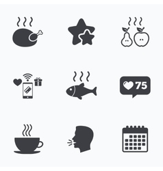 Hot food icons Grill chicken and fish symbols vector image