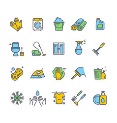 household and cleaning tools colored thin line vector image