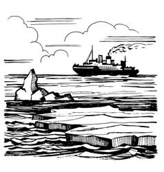 icebreaker sails on horizon vector image