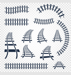 isolated curvy and straight rails set railway top vector image