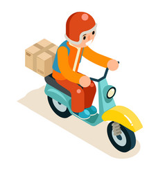 Isometric 3d delivery courier scooter symbol box vector