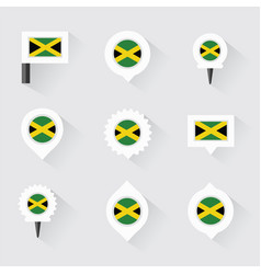 Jamaica flag and pins for infographic and map vector