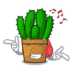 Listening music spurge cactus plant isolated on vector