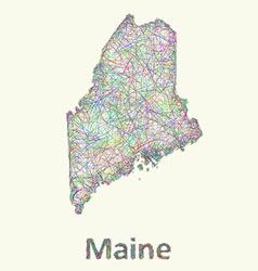 Maine line art map vector