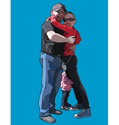 man and a woman with a child hugging vector image