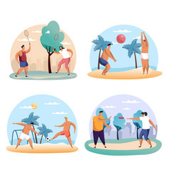 Man and woman playing badminton frisbee soccer vector