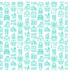 medicine seamless pattern with thin line icons vector image