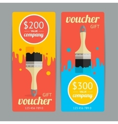 Modern Gift Voucher with Paint Brush vector image