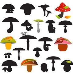 Mushrooms Set Isolated on White Background vector image