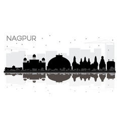 Nagpur india city skyline black and white vector