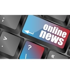 online news button on computer keyboard key vector image