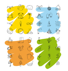 outlined icons decoration spring summer autumn vector image