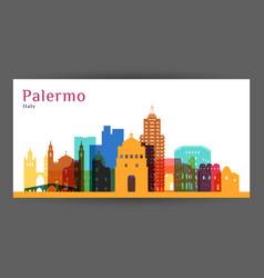 Palermo city architecture silhouette colorful vector